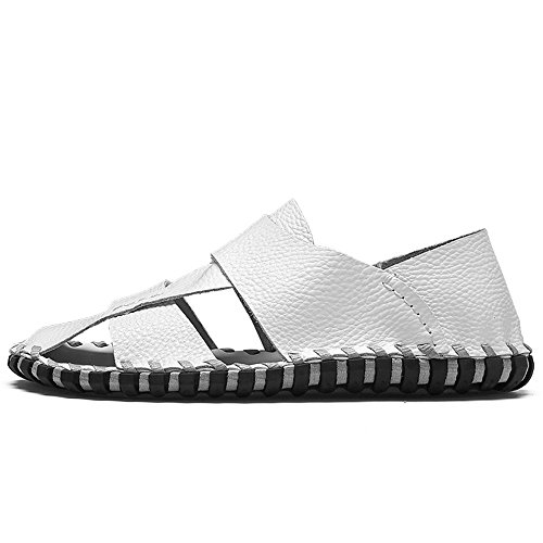 scarpe piedi chiusa Suture Bianca sandali per all'aperto vera 40 escursioni da in la Dimensione a antiscivolo 2018 pelle spiaggia piatte EU Color a punta shoes morbide Mens uomo w6SxnqBPE