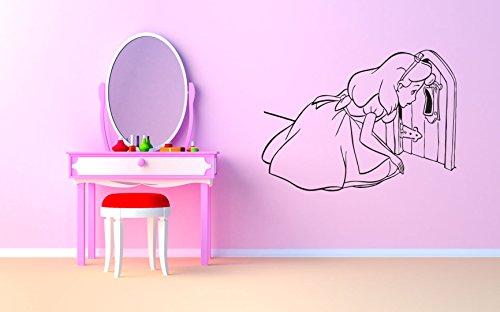 Wall Vinyl Sticker Alice in Wonderland Cheshire Cat Queen Of Heart White Rabbit Caterpillar Duchess Wall Vinyl Sticker Quote Phrase Fairy Tale Cartoon Character Girl Boy Nursery Kids Room Decor -
