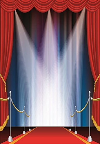 Laeacco 5X7FT Vinyl Photography Background Stage Show Wedding Hall Scene Spotlight Red Carpet Fence Curtain Valance Party Festival Celebration Lovers Kids Adults 1.5(W) X2.2(H) M Photo Studio Props