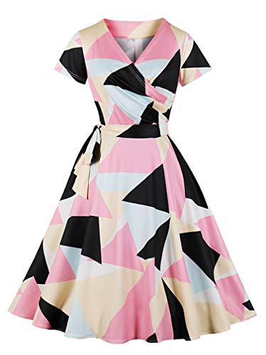 Geometry pink Women's Swing Killreal Retro Patterns 1950's Vintage Casual Dress Printed Black xIPRPapwq