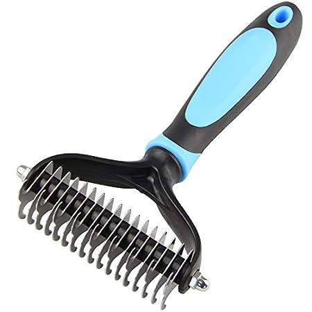 Peigne Pour Chiens Chats Brosse pour Chien Chat Animaux à poils longs Brosse Outil de Toilettage(Large, Blue) DELE