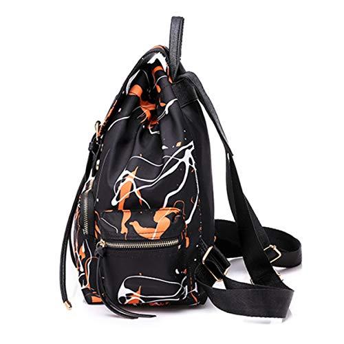 Graffiti Luxiao Style nero Arancione Nylon Donna Backpack Fashion rwqAZIr4