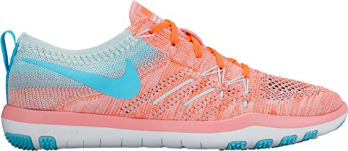 (Nike Womens Free TR Focus Flyknit Running Trainers 844817 Sneakers Shoes (US 6, Bright Melon polarised Blue 801))