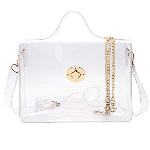 Satchel Handbag Clear - LOPHORINA Metal Turn Lock Clear Bag Cross Body Bag Shoulder Satchel Handbag for Women NFL Stadium Approved