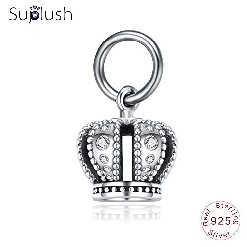 King Sterling New Silver - Calvas Suplush New 100% 925 Sterling Silver King Crown with Sparkling CZ Beads fit Bracelets Charm Making Fine Jewelry Gift PSMB0855