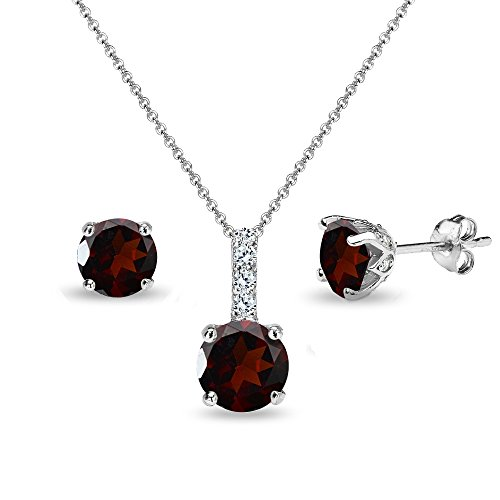 Sterling Silver Garnet & White Topaz Round Crown Stud Earrings & Necklace ()
