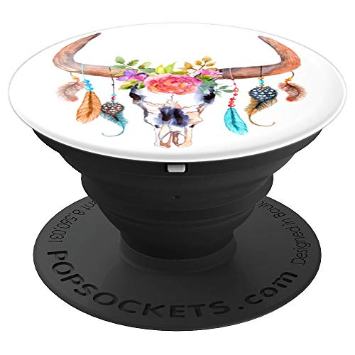Watercolor Bull Skull Flowers | Cute Feathers - PopSockets Grip and Stand for Phones and Tablets