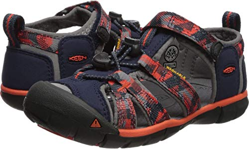 KEEN Unisex-Kids Seacamp II CNX Sandal, Dress Blues/Spicy Orange, 13 M US Little (Orange Kids Sandals)