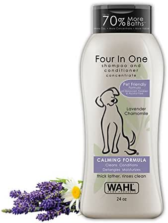 Wahl 4-in-1 Calming Pet Shampoo – Cleans, Conditions, Detangles & Moisturizes with Lavender Chamomile & 100% Natural Ingredients - 24 Oz