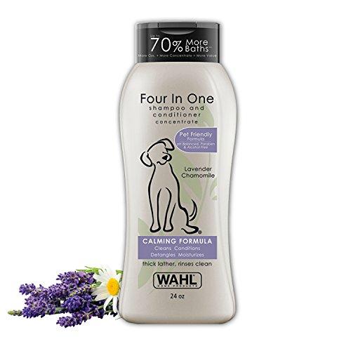 Wahl 4-in-1 Calming Pet Shampoo - Cleans, Conditions, Detangles, & Moisturizes with Lavender Chamomile & 100% Natural Ingredients - 24 Oz