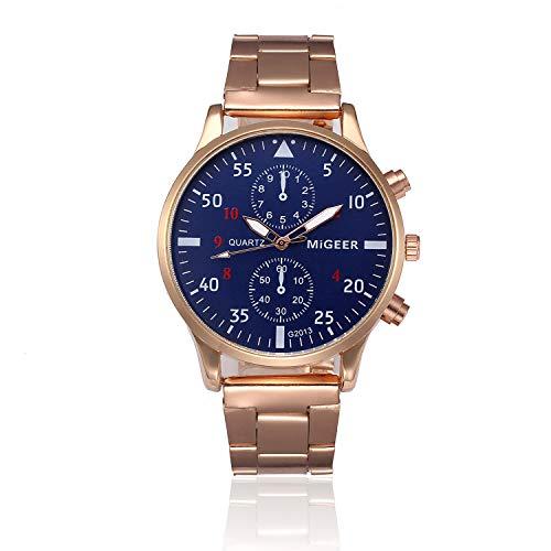 Bokeley Men's Watch, Watch Luxury Quartz Crystal Sport Stainless Steel Wrist Watch Men (Gold)