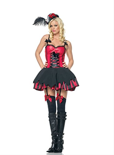 Leg Avenue Lace Up Bustier - Leg Avenue Pirate's Treasure Wench Incl Eyelash Lace Trimmed Gartered Dress W/ Lace Up Front 83376(R...