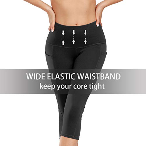 Kyopp High Waist Yoga Pants Tummy Control Workout Running 4 Way Stretch Yoga Leggings Women Capris Pants (Black, M)