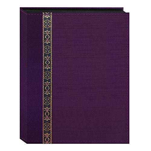 Fabric Ribbon Cover Photo Album 208 Pockets Hold 4x6 Photos, Purple