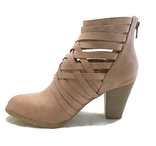 Out MI Cut IM Womens PINK URBAN Back 5 Bootie Dress 05 Zip Chunky 5 Ankle Comfy rrqYwd