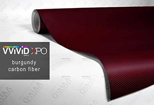 VViViD XPO Burgundy Dry Carbon Fiber 1ft x 5ft Vinyl Wrap Roll with Air Release Technology