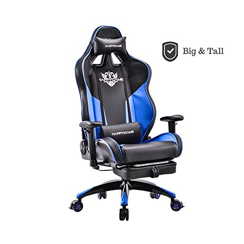 HAPPYGAME Racing Style Gaming Chair - with Adjustable Tilt, Footrest and Lockable Wheels High-back Leather Executive Computer Office Chair with Lumbar Support & Headrest (Black/Blue) Leather High Back Frame