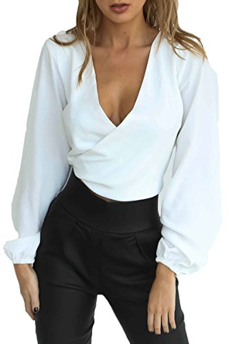 Puffy Sleeve Shirt - Almaree Lady V-Neck Wrap Front Low Back Blouse Off The Shoulder Shirt White L