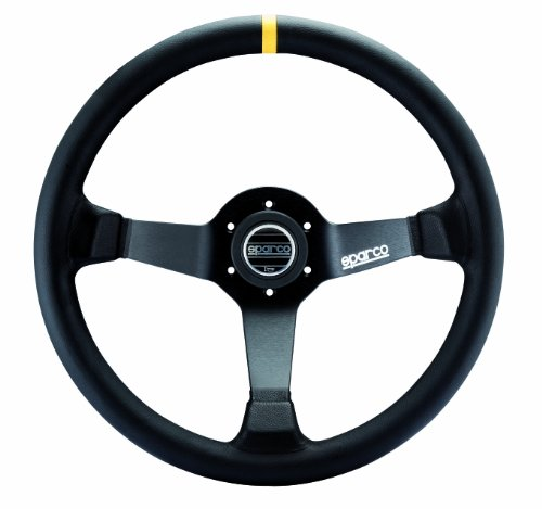 - Sparco 015R345MLN Leather Steering Wheel,Black