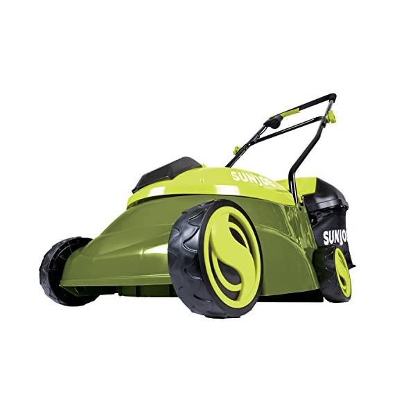 """Sun Joe MJ401C, 14 inches, Green 1 POWERFUL: Perfect for small to medium lawns, battery-powered mower's durable steel blade cuts a crisp 14"""" wide path with precision in a single pass PERFORMANCE: The 28 V 4 Ah rechargeable lithium-ion battery for up to a quarter acre of continuous mowing per charge ADJUSTABLE DECK: Tailor cutting height with 3-position manual height adjustment"""