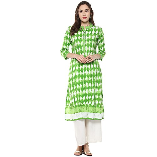Appealing Saree - Ridan Women's Casual Cotton 3/4 Sleeve Straight Knee Length Kurti/Kurta Tunic Top