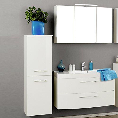 Badezimmer Set Badmbel Hochglanz wei Spiegelschrank Waschtisch Midischrank LED