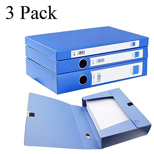H&W 3 Pack, A4 Storage Archives Cases File Boxes Plastic with Lid, Box File, Height 35 55 75mm, Blue (WG3-Z1)