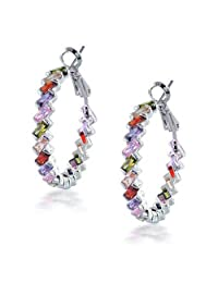 Bling Jewelry Rainbow Clear CZ Baguette Hoop Earrings Rhodium Plated Brass