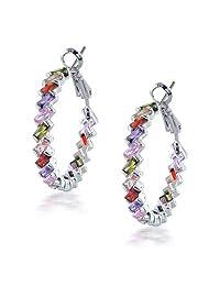 Bling Jewelry Rainbow Clear CZ Baguette Hoop Earrings Rhodium Plated Brass