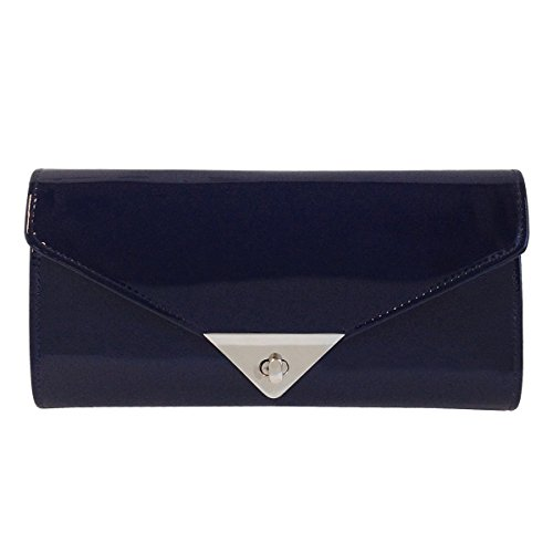 JNB Women's Patent Leather Candy Clutch (Blue Leather Clutch)