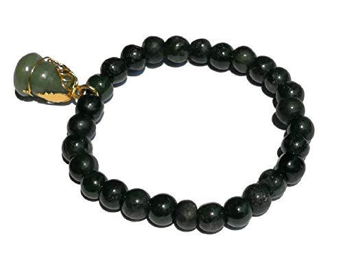 Lucky Dark Green Myanmar Jade Amulet Bracelet Good