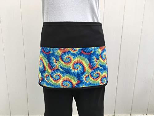 (Waitress or Server 3 Pocket, half, waist, tie-dye printed design black apron (Handmade Janet Aprons) for 300 more! for cooking,restaurants, and kitchen.)