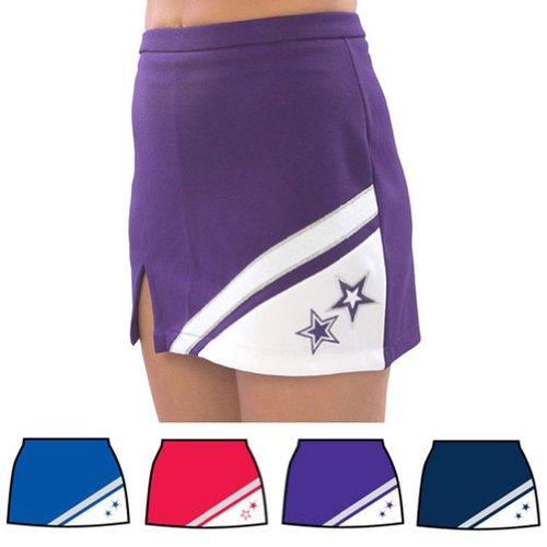 Pizzazz Multi Color Cheer Star Stitch V Notch Uniform Skirt Girls 2-16