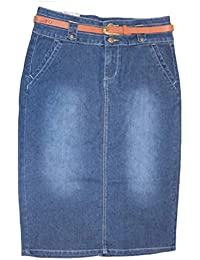 Women's Casual Plus Size Belted Pencil Jean Skirt 28 inch 14-22