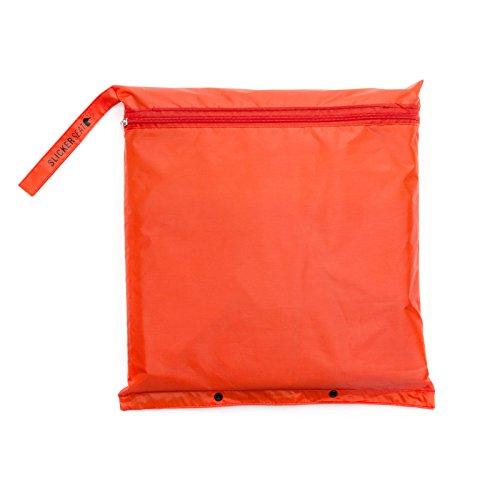 Slicker Seat Unisex Raincoat - Built-In Portable Poncho w/Stadium Seat Cushion - Bright Orange