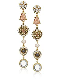 badgley mischka floral and crystal duster drop earrings