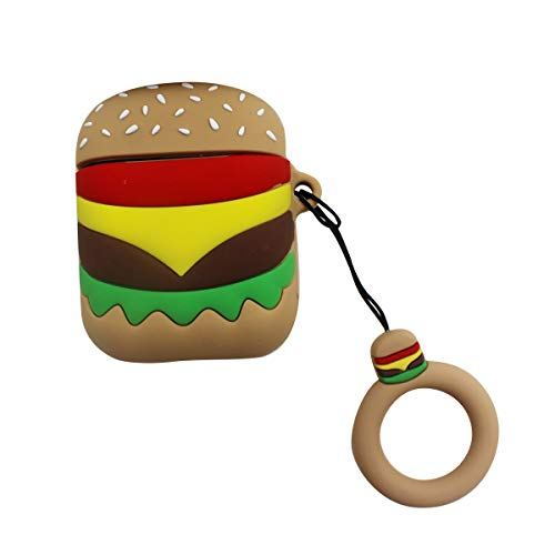 Amamcy Cute Hamburger Shaped AirPods Case Protective AirPods Silicone Skin Cover with Key Ring for Apple AirPods