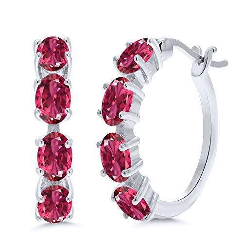 Gem Stone King 3.04 Ct Oval Pink Tourmaline 925 Sterling Silver Earrings