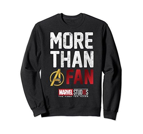Fan Adult Sweatshirt - Unisex Marvel Studios Ten Years More Than A Fan Sweatshirt Medium Black