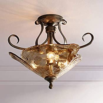 Amazon Com Amber Scroll 20 1 4 Quot Wide Art Glass Ceiling