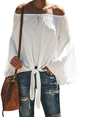 Asvivid Womens Off The Shoulder Blouses Long Flare Bell Sleeve Self Tie Shirt Ladies Chiffon Blouses M White
