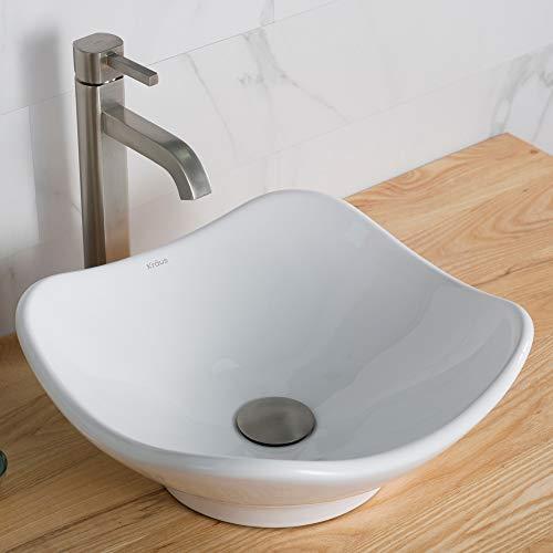 - Kraus C-KCV-135-1007SN White Tulip Ceramic Sink and Ramus Faucet Satin Nickel