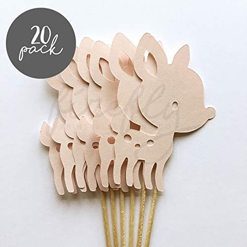 Firefly Deer 20 Cupcake Toppers Gender Reveal Baby Shower Decorations Party Cake Decorating Supplies First Birthday Decorations Kids Children Baking Supplies -