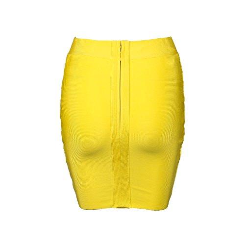 Mini pour Jaune Bande courtes Shownice plisse Fermeture clair jupe Bodycon femme lastique 5Sqxw78xO