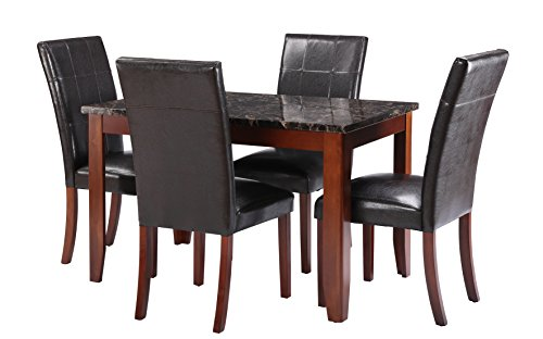 Classic and Traditional 5 Piece Dining Room Set, Kitchen Table with 4 Chairs (Black / Brown)