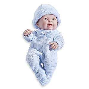 """Mini La Newborn Boutique - Realistic 9.5"""" Anatomically Correct Real Boy Baby Doll dressed in BLUE – All Vinyl Open Mouth Designed by Berenguer – Made in Spain"""