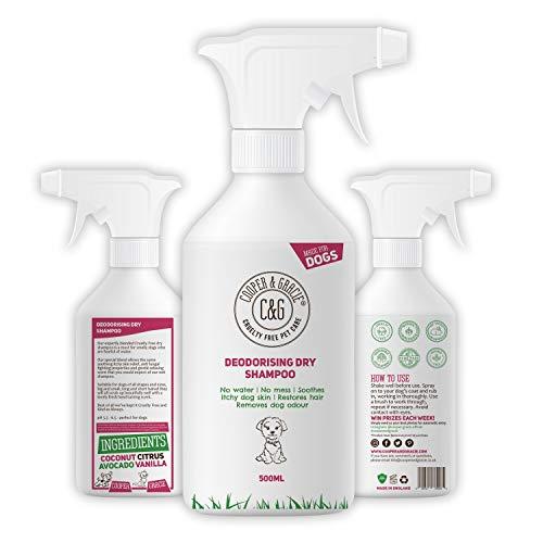 Champú seco para perros con olor a perro, limpiador de manchas, sin crueldad, productos de aseo sin agua, desodorante de olor orgánico de lujo, neutralizador, limpiador antibacteriano, 500 ml