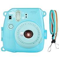 Camera Case Cover for Fujifilm Instax Mini 9/8/8+, PVC Transparent Crystal Protective Camera Case for Fujifilm Instax Mini 9/ 8/ 8s Instant Film Camera with Cute Adjustable Strap