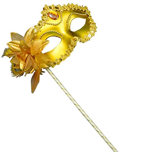 [Clearbridal Women's Sexy Gold Masquerade Mask On Stick With Feather CMJ025GD] (Feather Mask With Stick)