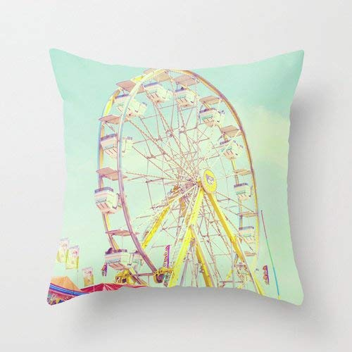 (alerie Sassoon Carnival Pillow Case Ferris Wheel Pillow Cover Fair Vintage Child Room Decoration Carnival Throw Pillow Cover 18x18 Art)